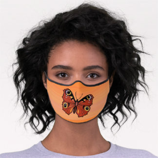 Golden Monarch Butterfly Abstract Markings Orange Premium Face Mask
