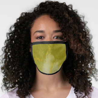 Golden Moss Green Tie Dye All-Over Print Face Mask
