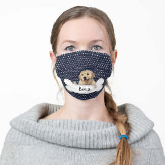 golden retriever and dog bone on polka dot adult cloth face mask