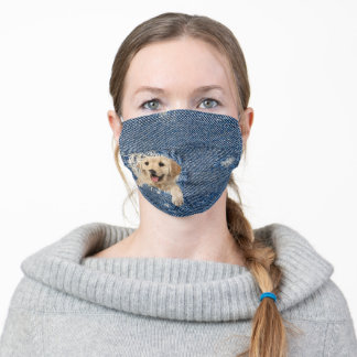 golden retriever dog in blue jean hole adult cloth face mask