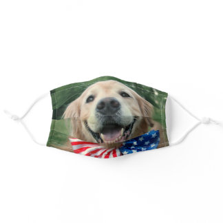 Golden Retriever Dog in Bow Tie Independence Day Adult Cloth Face Mask