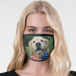 Golden Retriever Dog in Bow Tie Independence Day Face Mask