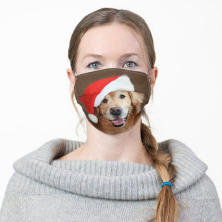 Golden Retriever Dog With Red Santa Hat Christmas Adult Cloth Face Mask