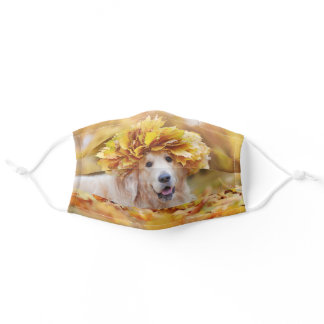 Golden Retriever Fall Autumn Leaves Nature Animal Adult Cloth Face Mask