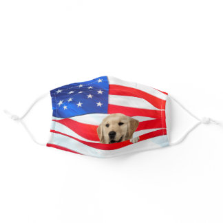 golden retriever on American flag Adult Cloth Face Mask
