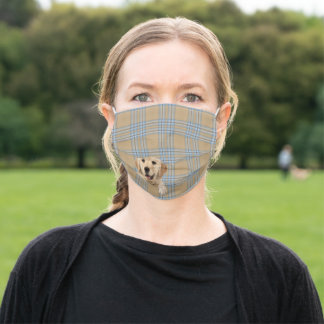 golden retriever on plaid adult cloth face mask