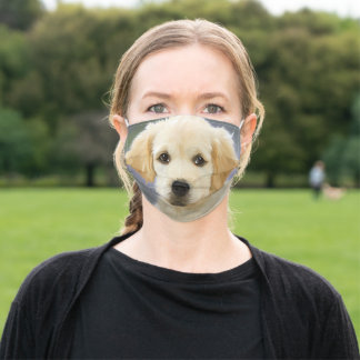 Golden Retriever Puppy Painting Adult Cloth Face Mask