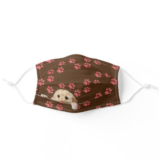 Golden retriever with paw prints adult cloth face mask