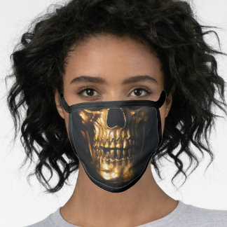 Golden Skull Photo Cotton Poly Blend Face Mask
