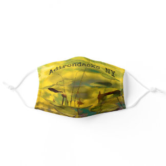 Golden Water Lily Reflections - Adirondacks Photo Adult Cloth Face Mask