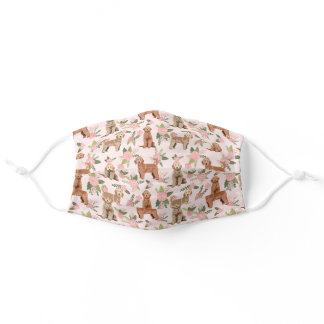 Goldendoodle dogs peach florals adult cloth face mask