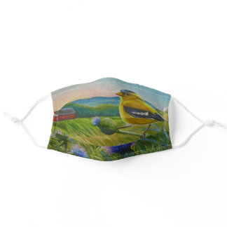 Goldfinch Bird Thistles Summer Farm Watercolor Art Adult Cloth Face Mask