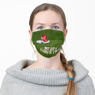 Golf ball Christmas with Santa Claus hat on green Adult Cloth Face Mask