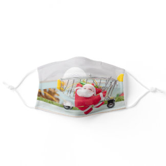 Golf ball with Christmas Santa claus on green Adult Cloth Face Mask