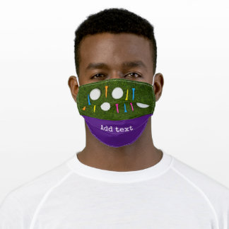 Golf ball with colorful tee on green birthday adult cloth face mask