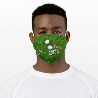 Golf birthday Happy Birdie with love for golfer Adult Cloth Face Mask