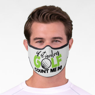 Golf Count Me In Word Art Premium Face Mask