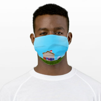 Golf Father Day for Golfer with house on green Adult Cloth Face Mask