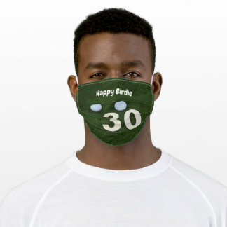 Golf happy 30th birthday birdie with golf balls adult cloth face mask