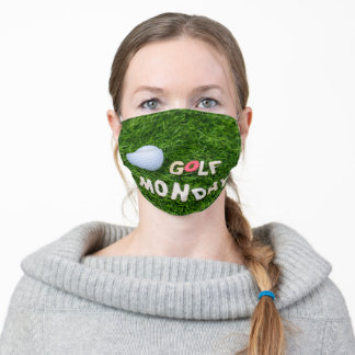 Golf  Monday with golf ball on green grass Adult Cloth Face Mask