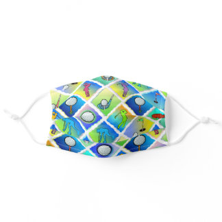 Golf Pattern Blue Green Adult Cloth Face Mask