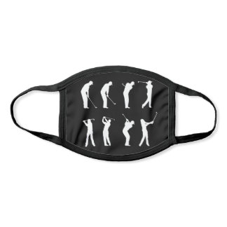 Golf Swings Silhouette Pattern Black and White Face Mask