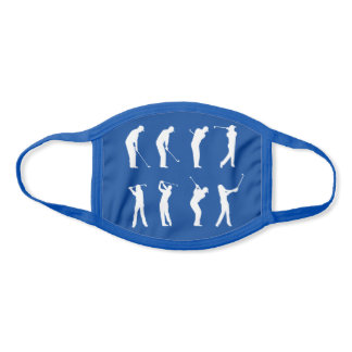 Golf Swings Silhouette Pattern Blue and White Face Mask