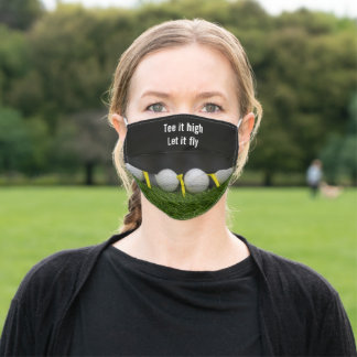 Golf tee it high let it fly with golf ball and tee adult cloth face mask