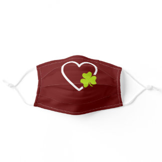 Good Luck Lucky Charm Symbol Clover Heart Adult Cloth Face Mask