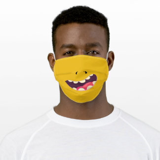 Goofy Silly Face Funny Teeth - mustard yellow Adult Cloth Face Mask