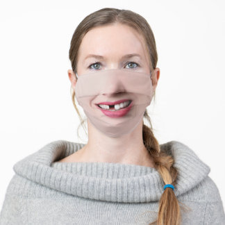 Goofy Woman's Smile With Missing Tooth Adult Cloth Face Mask