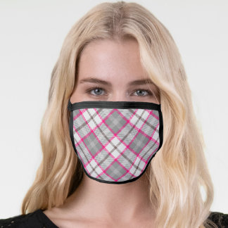 Gool Grey, White and Bright Pink Plaid Face Mask