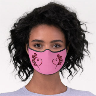 Gothic heart and roses on pink with Monogram  Premium Face Mask