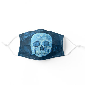 Gothic Skull Creepy Blue Grunge Cool Adult Cloth Face Mask