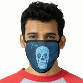 Gothic Skull Creepy Blue Grunge Cool Face Mask