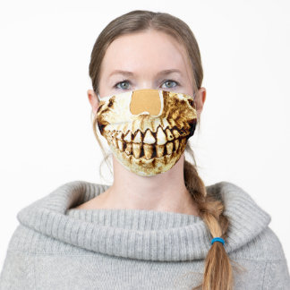 Gothic Skull Face Gold Girly Metallic Funny Adult Cloth Face Mask