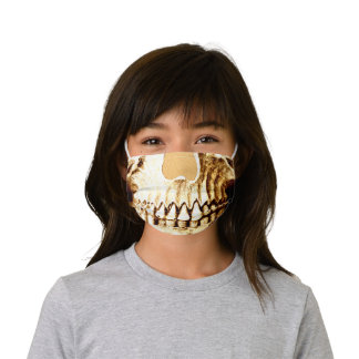 Gothic Skull Face Gold Girly Metallic Funny Kids' Cloth Face Mask