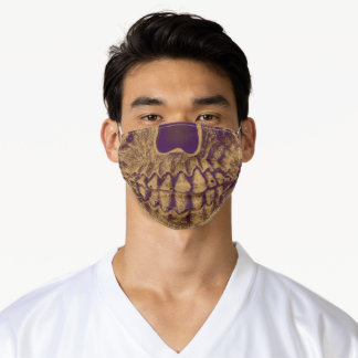 Gothic Skull Grunge Purple Gold Cool Monogram Adult Cloth Face Mask