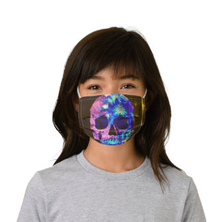 Gothic Skull Head Blue Purple Green Cool Pop Art Kids' Cloth Face Mask