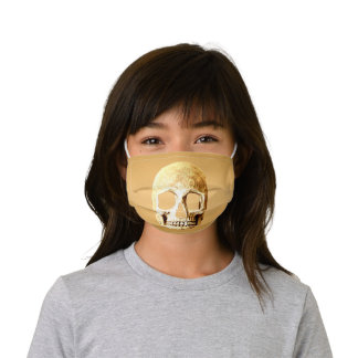 Gothic Skull Head Gold Girly Metallic Stylish Kids' Cloth Face Mask