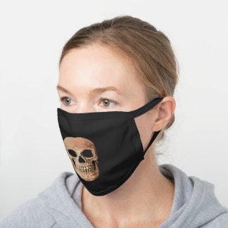 Gothic Skull Light Brown Sepia Cool Creepy Design Black Cotton Face Mask
