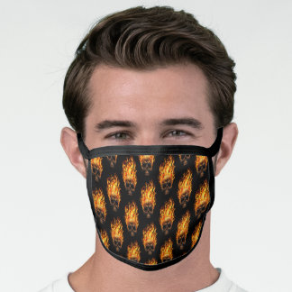 Gothic Yellow Orange Fire Flames Pattern On Black Face Mask