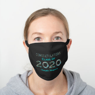 Graduation Class of 2020 Black Cotton Face Mask