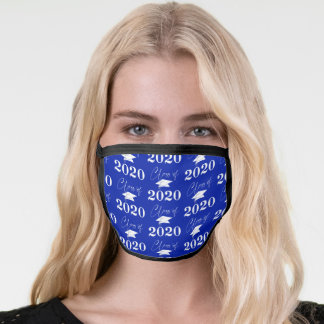 Graduation Class of 2020 Modern Typography Blue Face Mask