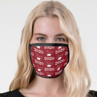 Graduation Class of 2020 Modern Typography Red Face Mask