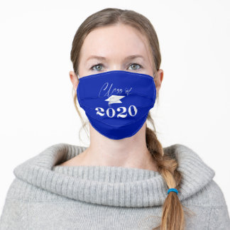 Graduation CLASS OF 2020 Typography Royal Blue Adult Cloth Face Mask