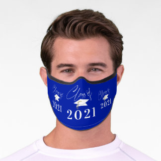 Graduation Class of 2021 Modern Typography Royal Premium Face Mask