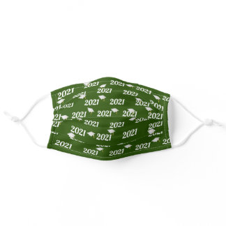 Graduation year 2021 green and white adult cloth face mask
