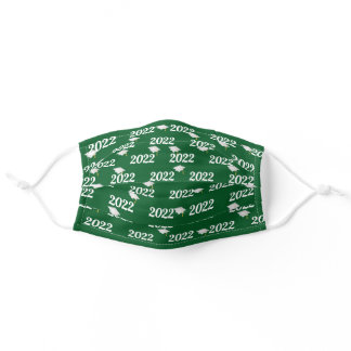 Graduation year 2022 green and white adult cloth face mask