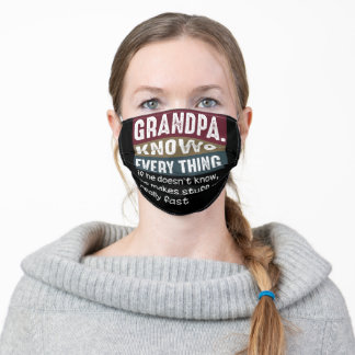 Grandpa Knows Everything Vintage Grumpy Quotes Adult Cloth Face Mask
